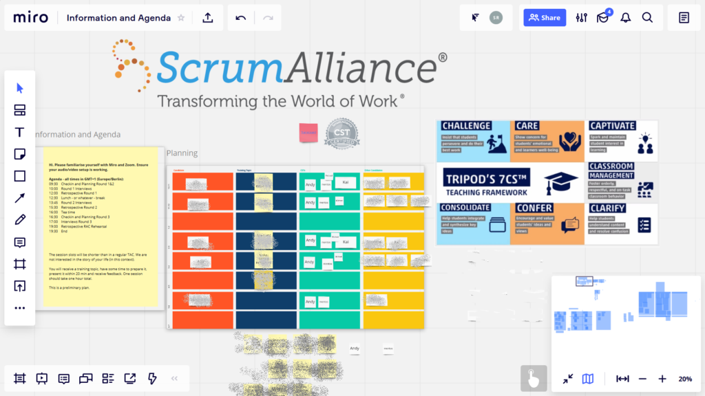Scrum Alliance CST Candidates meet online and use miro.com to create trainings sessions.